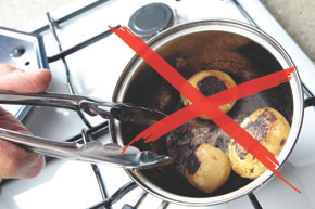 food cooked with the SimmerMat will not catch and burn